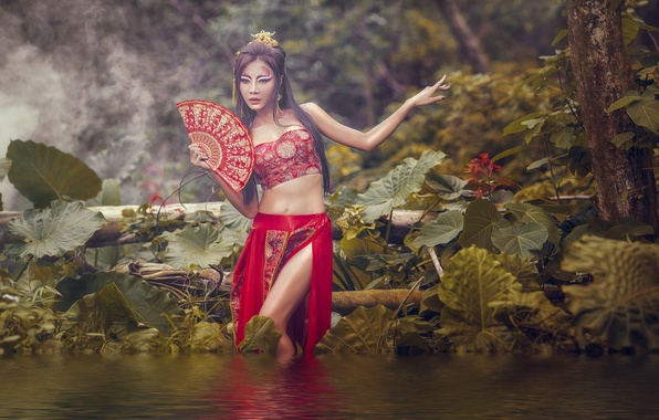 Picture water, girl, nature, pose, style, makeup, fan, outfit, Asian