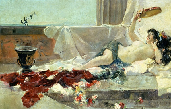 Picture erotic, chest, flowers, picture, vase, Nude, bed, Joaquin Sorolla