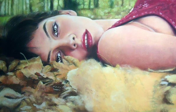 Picture autumn, look, leaves, girl, face, hair, makeup, painting, green eyes, red lips