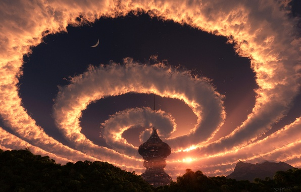 Picture forest, the sky, the sun, space, stars, clouds, landscape, sunset, nature, tower, spiral, the evening, …