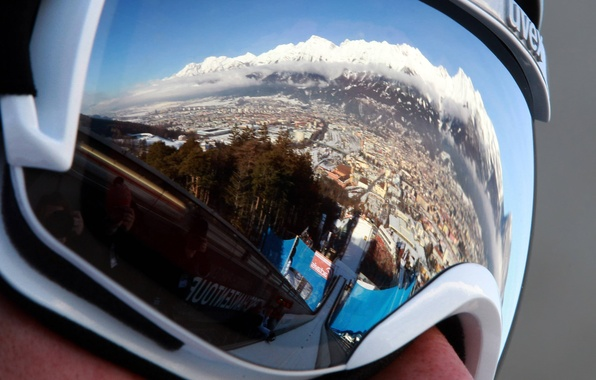 Picture mountains, reflection, Austria, Alps, glasses, jump, Innsbruck