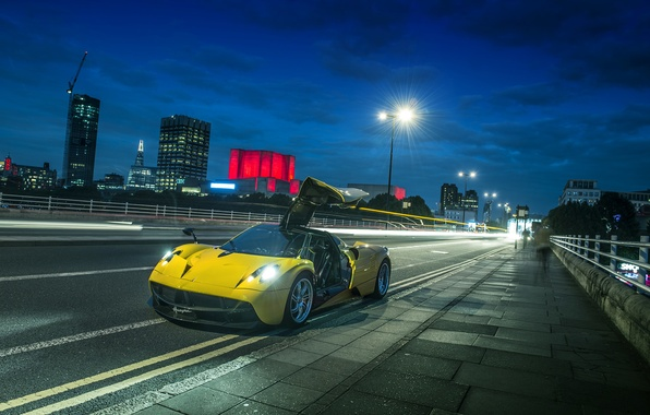 Picture night, supercar, street, Huayr To Pagani, hypercar
