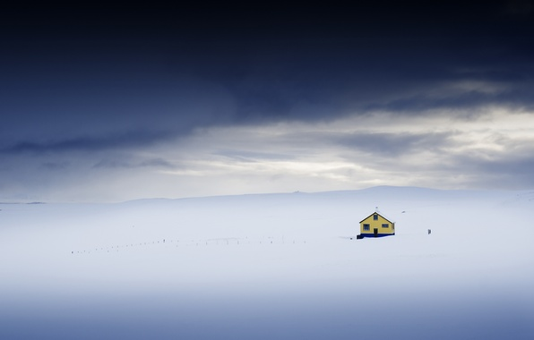 Picture field, snow, house