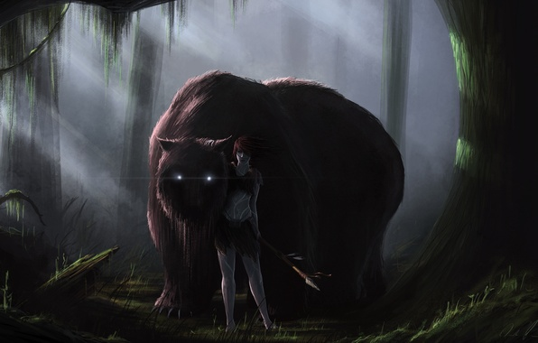 Picture forest, girl, monster, art, spear, beast, druid, burning eyes