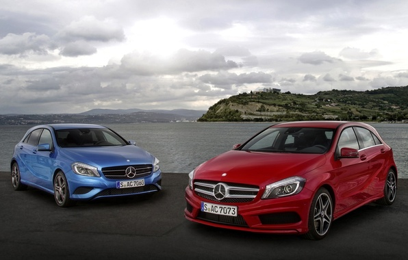 Picture the sky, blue, red, shore, Mercedes-Benz, Mercedes, the front, hatchback, A-class, A-class
