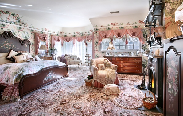 Picture style, bed, fireplace, bedroom, Interior