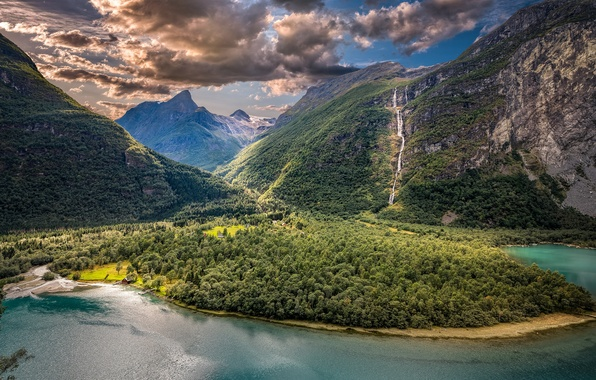 Picture clouds, mountains, lake, valley, Norway, panorama, Norway, Sogn og Fjordane, Vikan, Vikane, Sogn and Fjordane