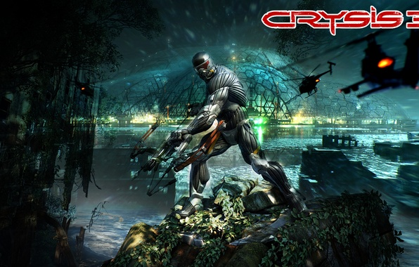 Picture the city, bow, jungle, helicopter, the dome, nanosuit, Crytek, New-York, Crysis 3, The prophet