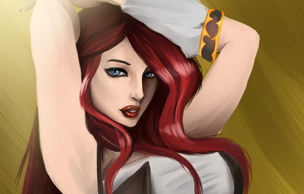 Picture look, girl, hair, hands, art, red, blue eyes, lol, league of legends, miss fortune