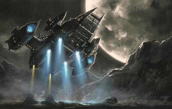 Picture machine, ship, planet, dust, art, landing