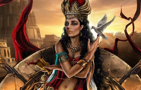 Picture girl, decoration, the city, wine, bird, glass, dove, tower, art, Queen, Semiramis, Assyria, fatty, Semiramida