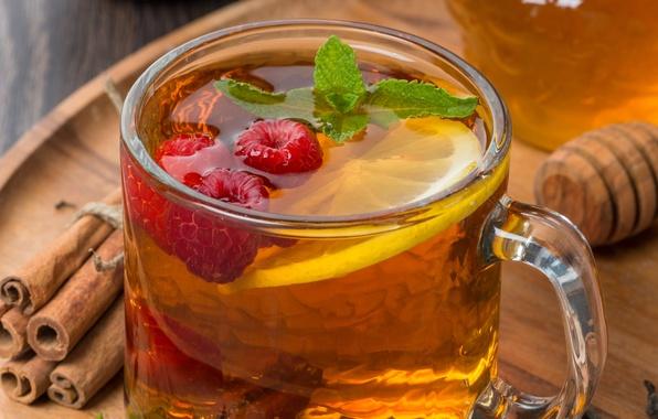 Picture berries, raspberry, lemon, tea, sticks, honey, Cup, honey, cinnamon, mint