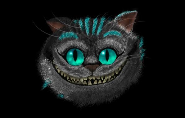 Picture face, smile, the dark background, art, Alice in Wonderland, Cheshire Cat, Cheshire Cat, Alice's Adventures …