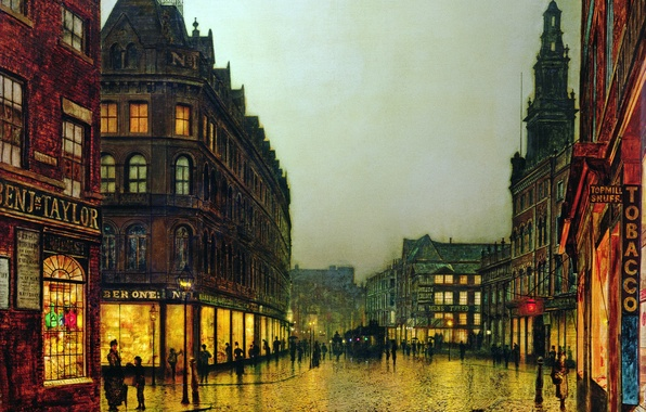 Picture light, the city, people, street, Windows, home, picture, lights, signs, showcase, John Atkinson Grimshaw
