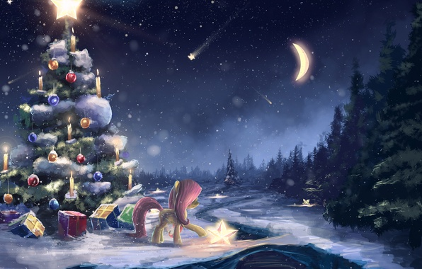 Picture winter, snow, holiday, the moon, art, gifts, pony, tree