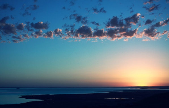 Picture sea, the sky, water, the sun, clouds, landscape, sunset, space, color, dal, horizon
