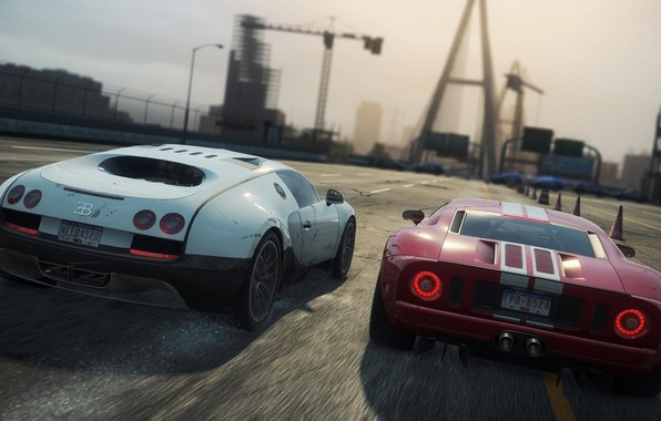 Picture squirt, the city, race, sports cars, ford gt, Bugatti Veyron 16.4 Super Sport, need for …