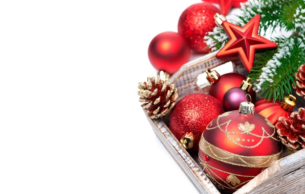 Picture decoration, box, balls, Christmas, New year, Christmas, balls, box, New Year, decoration, Merry