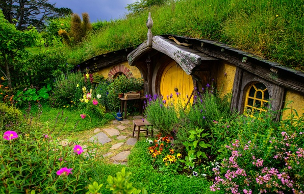 Picture greens, grass, flowers, house, Nora, the Lord of the rings, hill, new Zealand, Shir