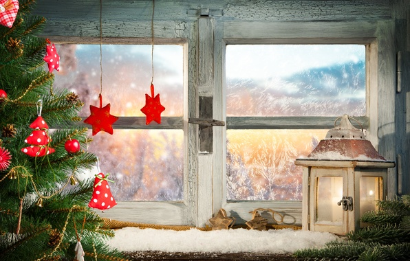 Picture decoration, window, decoration, tree. lantern