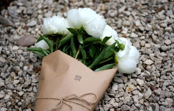 Picture flowers, bouquet, white, gravel, peonies, with love