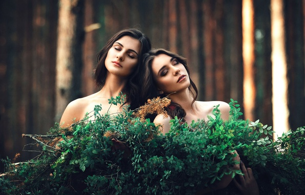Picture forest, two girls, friend