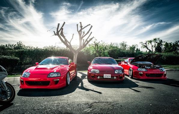 Picture red, red, supra, Toyota, trio, tuning, Toyota, supra
