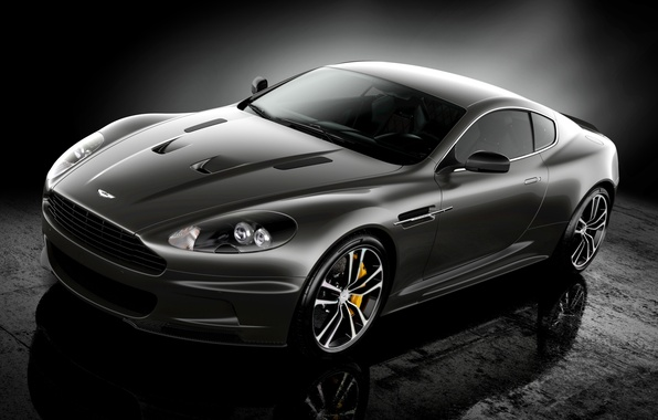 Picture reflection, black, Aston Martin, DBS, supercar, twilight, Ultimate, the front, Aston Martin, spec.version, DBS
