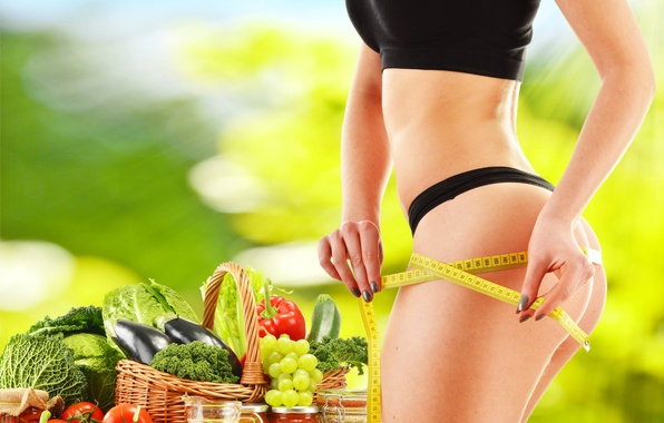 Picture exercise, diet, healthy food, female figure