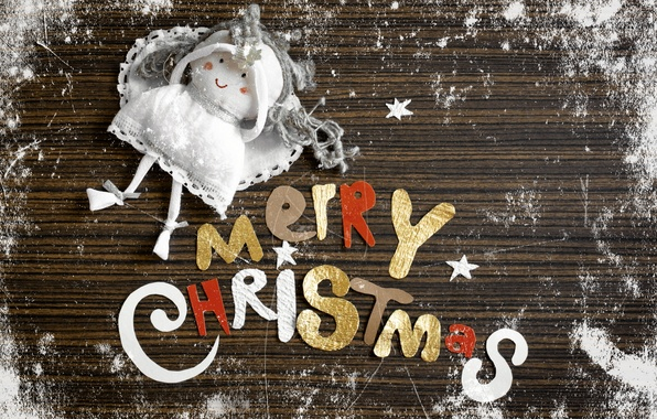 Picture frost, snow, letters, the inscription, angel, doll, Christmas, Christmas, congratulations, Merry Christmas