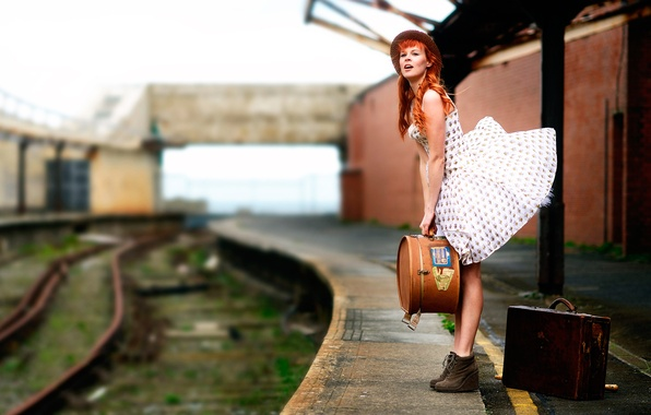 Picture girl, the wind, rails, dress, the platform, suitcase