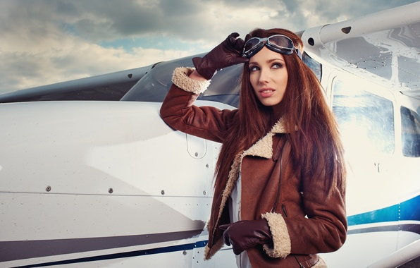 Picture look, girl, pose, model, glasses, jacket, gloves, the plane, Izabela Magician