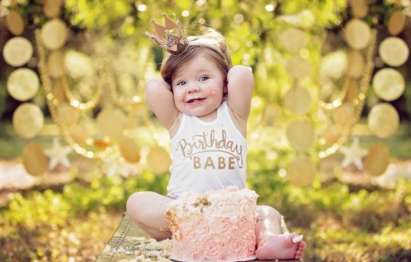 Picture mood, birthday, crown, girl, cake, Princess, the birthday girl