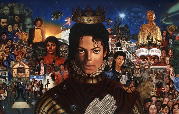 Picture collage, figure, star, crown, art, Michael Jackson, celebrity, glove, singer, Michael Jackson, dancer