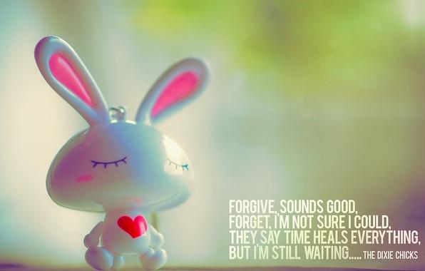 Picture mood, the inscription, heart, Bunny, quote, figure