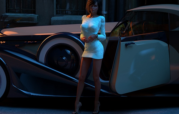 Picture auto, girl, rendering, street, beauty, the evening, dress, car, kelly