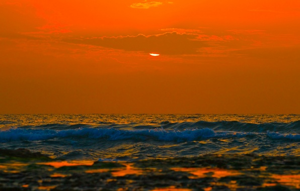 Picture sea, wave, the sky, clouds, sunset, horizon