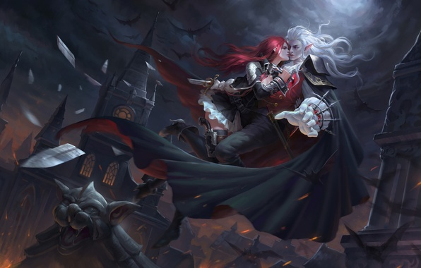 Picture girl, night, weapons, the moon, art, vampire, male, bats, cloak