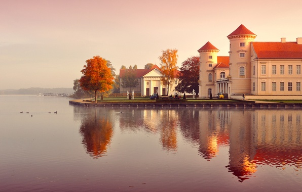 Picture autumn, leaves, water, trees, landscape, nature, fog, reflection, people, building, morning, yellow, Germany, orange, Germany, …