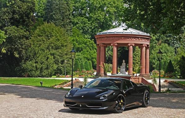 Picture trees, black, lights, statue, ferrari, Ferrari, black, front view, Italy, 458 italia