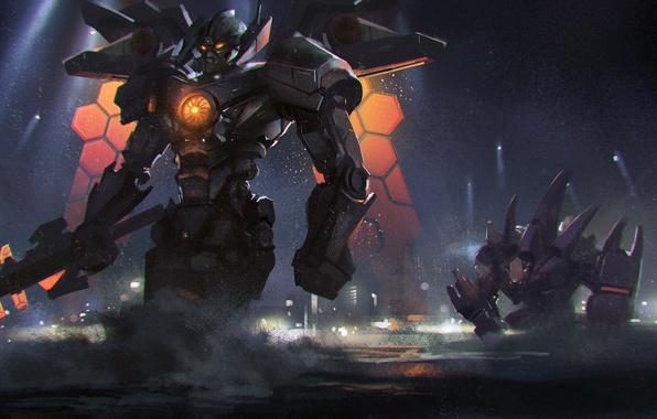 Picture sea, night, robot, sword, art, Mech