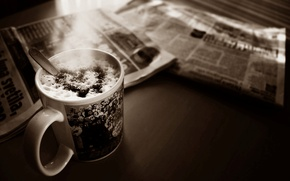 Picture photo, table, heart, coffee, Sepia, Cup, Newspapers, foam