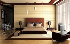 Picture design, bed, interior, bedroom