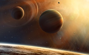 Picture space, planet, stars, Titanomachy