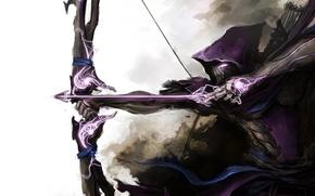 Picture weapons, mask, bow, art, arrow, cloak, Archer