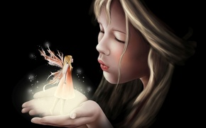 Picture fantasy, wings, tale, art, girl, fake