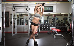 Picture blonde, pose, workout, fitness, gym