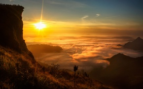 Picture the sun, clouds, rock, view, Laos