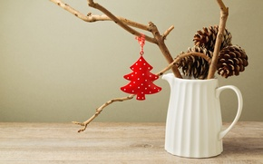 Picture winter, white, branches, toy, New Year, Christmas, pitcher, herringbone, Christmas, red, bumps, holidays, New Year