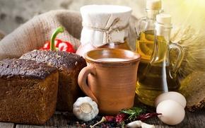 Wallpaper egg, oil, milk, bread, pepper, millet, garlic